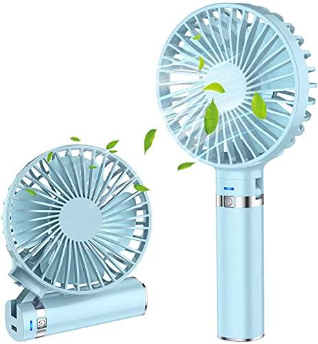 携帯扇風機 扇風機 モバイル ミニ 手持ち扇風機 卓上 両用 小型扇風機 USB充電 電池通用 ハンディファン 3段階風量調節 折りたたみ スタンド機能 コンパクト LED夜光 強力 省エネ 静音 熱中症 暑さ対策 (ブルー)