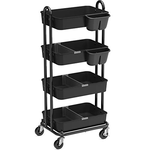 SimpleHouseware 4-Tier Multifunctional Rolling Utility Cart with Basket Dividers and Hanging Buckets, Black