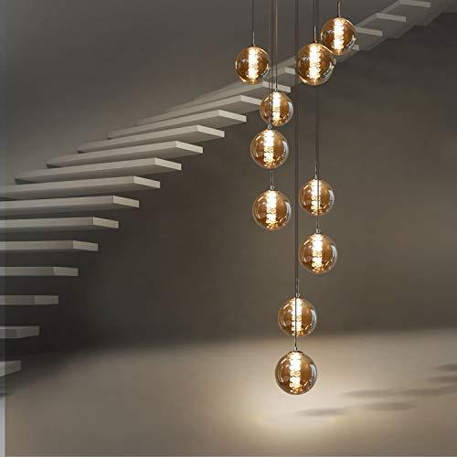 CBJKTX Pendelleuchte esstisch Pendellampe Höhenverstellbar Kronleuchter Hängeleuchte 10-Flammig aus Glas in Farbe Bernstein Küchen Wohnzimmerlampe Schlafzimmerlampe Flurlampe