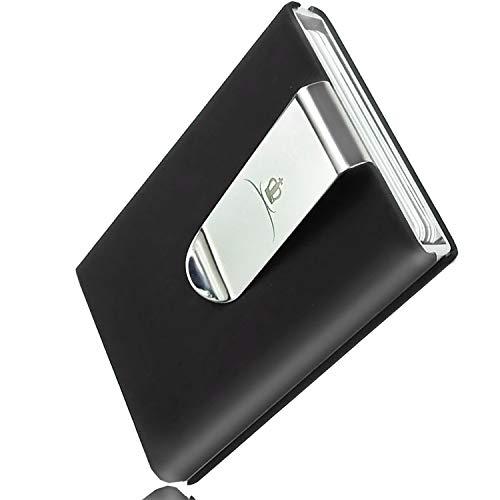 [ROYALCROWN] カードケース マネークリップ付きクレジットカードケース アルミ スキミング防止 メンズ (ブラック)