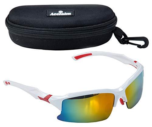 Acclaim Titan-Cricket-Brillen, Sonnenbrille, weißer und roter Rahmen aus Kunststoff, Regenbogengläser, weiß / rot