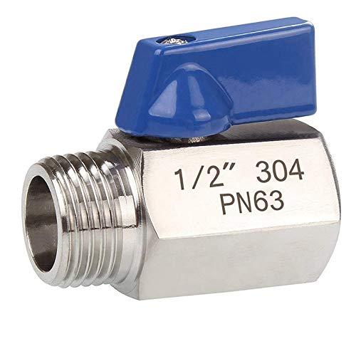 HKRSTSXJ 1/2 Pulgadas de Acero Inoxidable 304 Mini Válvula de Bola Hembra y Macho NPT Grande for la Ducha Cabeza de la válvula de Control de Flujo