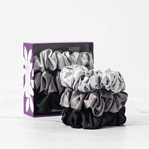 Mulberry Park Silks - Large - Black/Silver/Gunmetal (3 Pack) - 100% Pure Silk Hair Scrunchies - Gentle On All Hair Types - OEKO-TEX Certified