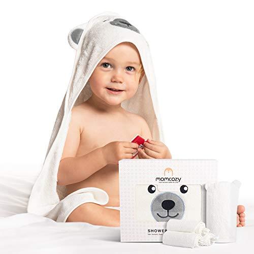 Momcozy 100% Bambus Baby Badetücher Set, Babyhandtuch mit Kapuze 1 Stück, Baby Waschlappen 3 Stück, Baby Bad Handschuh 1 Stück, Extrem Weich, Atmungsaktiv, Geeignet für Mädchen und Jungen