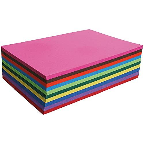 Clairefontaine 454199C - Paquet de 100 Feuilles de Papier Cartonné Couleur 210g/m² - Format A4 (21x29,7cm) - 10 Couleurs Assorties - Loisirs Créatifs, Bricolage, Activités Manuelles