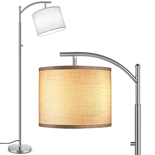 Outon LED Stehlampe, 3 Farbtemperaturen Moderne Lampe mit 3 Wege Drehschalter, Verstellbare Stehlampen mit hängendem Weißen Leinenstruktur Schirm für Wohnzimmer, Schlafzimmer, Gebürsteter Edelstahl