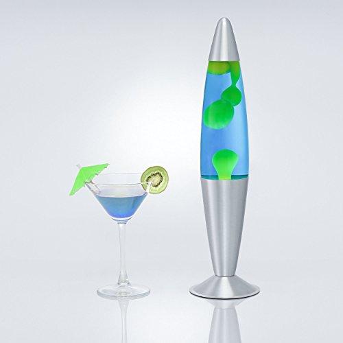 Retro Lavalampe Blau Flüssigkeit Gelber Wachs H:42cm Leuchtmittel inklusive Wohnzimmer Jugendzimmer