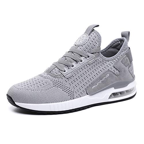 tqgold® Sportschuhe Herren Damen Laufschuhe Sneakers Turnschuhe Gym Fitness Leicht Schuhe(Grau,Groß 42)