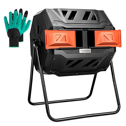 VIVOSUN Outdoor Tumbling Composter Dual Rotating Batch Compost Bin, 43 Gallon Orange Door