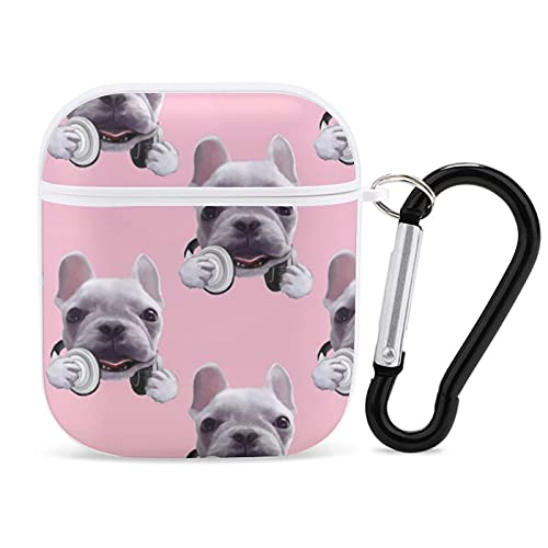Case for Airpods 1&2 Case Pink French Bulldog Airpods Case Cover Wireless Charging Case Headphone Case with Keychain Shockproof Anti-Lost AirPods 1&2 Case for Girls Teens