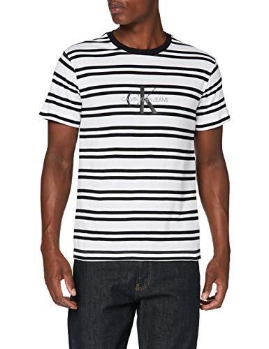 Calvin Klein Jeans Męska koszulka z logo w paski Ck Center