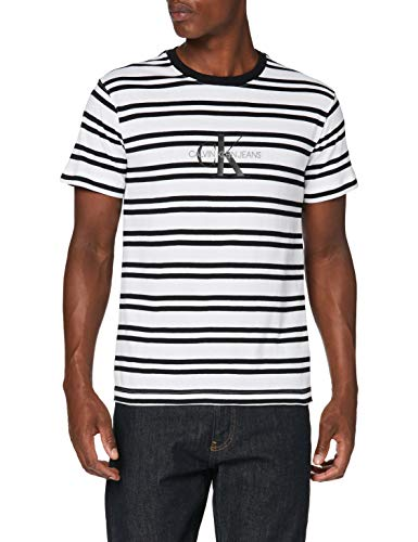 Calvin Klein Jeans Herren Striped Ck Center Logo Tee Hemd, White, L