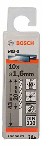 Bosch Professional Metallbohrer HSS-G geschliffen (10 Stück, Ø 1,6 mm)