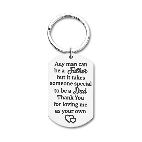 Gifts for Step Dad Keychain Father�s Day Birthday Gifts for New Dad Thank You for Loving Me As Your Own Wedding Gifts for Father in Law from Daughter Son Key Ring Dog Tag