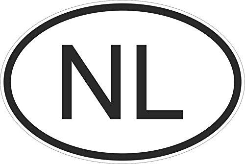 Akachafactory Stickers / stickers met ovale vlag, landmarkering, voor auto, onder, Nederland, NL