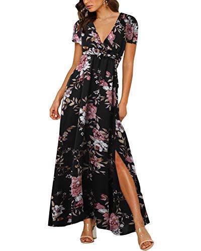 Auxo Damen V-Ausschnitt Kurzarm Lange Kleid Blumen Hohe Taille Lose Maxi Strandkleider 02-schwarz Medium