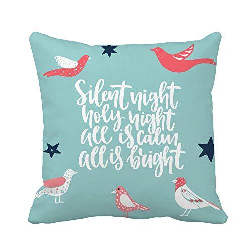 N\A Throw Pillow Cover Navidad Año Nuevo Temporada y Letras caligráficas Mensaje Funda de Almohada Funda de Almohada Cuadrada Decorativa para el hogar Funda de cojín