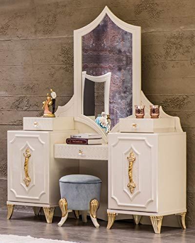 Casa Padrino tocador Barroco de Lujo con Espejo Blanco/Oro - Consola de...