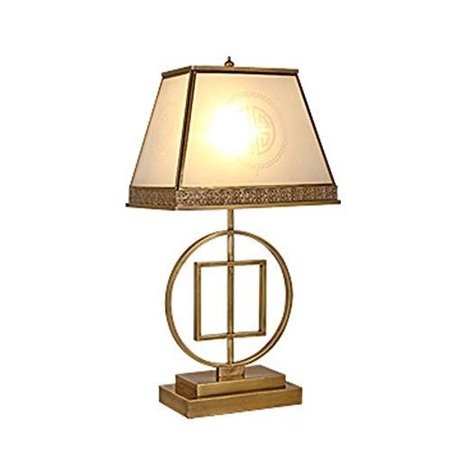 Bradoner Lámpara de mesa de soldadura de vidrio de cobre, clásica, de lujo, para sala de estar, dormitorio, mesita de noche, 32 x 60 cm