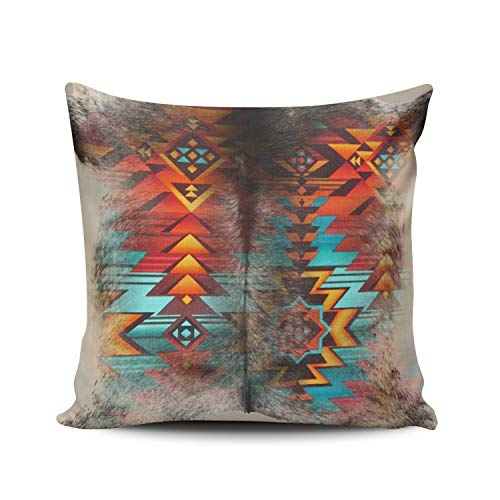 DOUMIFA Home Throw Pillow Case Distressed Cowhide and Western Print Design Square Decorative Pillowcase Cushion Cover Both Sides Same Colored Printing 22X22 inch (1-Pack)