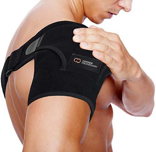 Copper Compression Recovery Shoulder Brace - Highest Copper Content Shoulder Stability Support Brace. Adjustable Fit Sleeve Wrap Men Women. Relief for Shoulder Injuries, Tendonitis (One Size Regular)