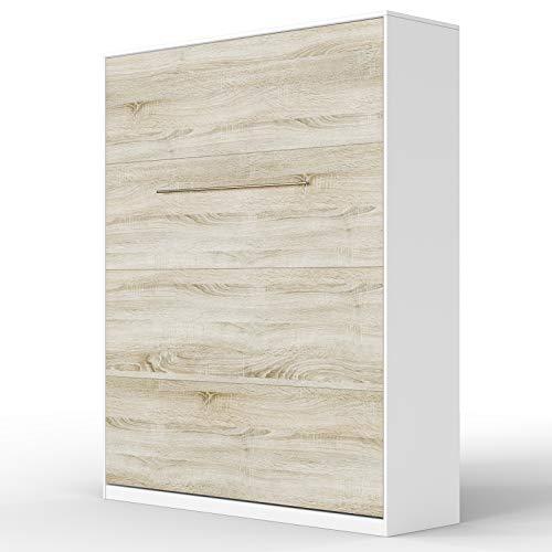SMARTBett Standard 160x200 Vertikal Weiss/Eiche Sonoma Schrankbett | ausklappbares Wandbett, ideal geeignet als Wandklappbett fürs Gästezimmer, Büro, Wohnzimmer, Schlafzimmer
