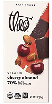 Theo Chocolate Cherry Almond Organic Dark Chocolate Bar 70% Cacao 1 Bar | Vegan Chocolate Fair Trade