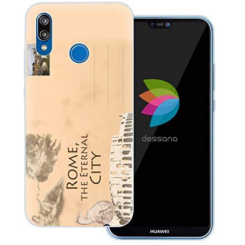 dessana postzegels transparante beschermhoes mobiele telefoon case cover tas voor Huawei, Huawei P20 Lite, Ansichtkaart Rome