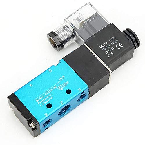 válvula neumática Cabezal piloto de alta frecuencia Válvula de aire eléctrica Material de aluminio Válvula solenoide 2 posiciones 5 puertos para procesamiento de(DC12V)