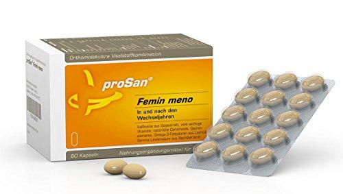 proSan® Femin meno für die Wechseljahre – natürlich & hormonfrei durch die Menopause - 60 Kapseln - Isoflavone, Vitamine, Mineralien, Carotinoide, Omega 3-Fettsäuren und Nachtkerzenöl