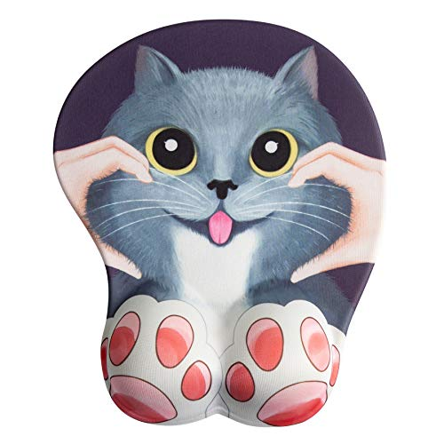 Anime 3D Mouse Pad Cat Ergonomic Mousepad with Wrist Support for PC Mac (Purple)