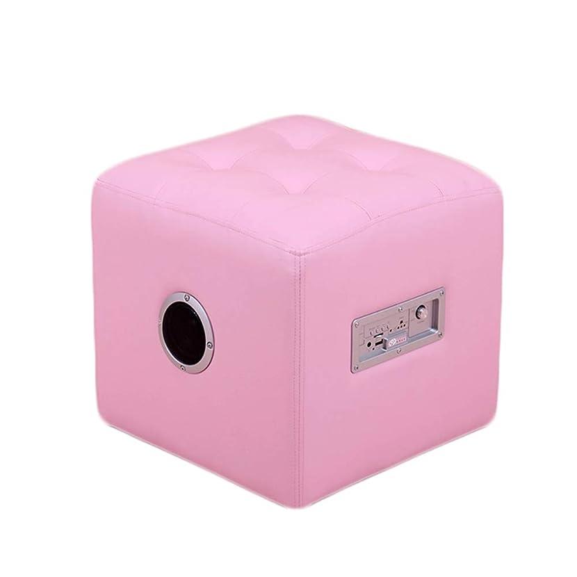 好意的サミット社会科CAIJUN フットスツール? ワイヤレスブルートゥーススピーカー 多機能 子 滑り止め 木製フレーム 屋内 環境を守ること 贈り物、 4色 (色 : ピンク, サイズ さいず : 36x36x35cm)