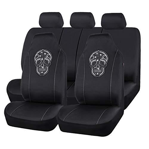 CAR PASS Skull Design Universal Fit Car Seat Covers Set, Airbag Compatible,Fit for Suvs,Vans,Sedans,Trunks,Elegant Black and White (7 PCS)