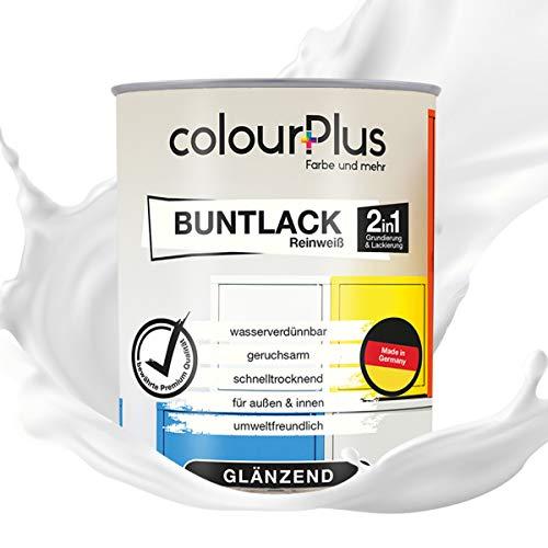 colourPlus® 2in1 Buntlack (750ml, RAL 9010 Reinweiß) glänzender Acryllack - Lack für Kinderspielzeug - Farbe für Holz - Holzfarbe Innen - Made in Germany