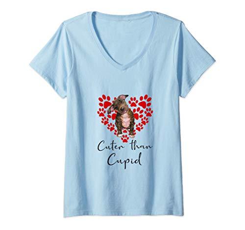 Mujer PITBULL Cuter Than Cupip Perro Día San Valentín Camiseta Cuello V