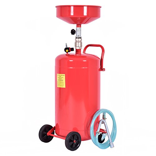 Goplus 20 Gallon Portable Waste Oil Drain Tank Air Operated Heavy Duty Height Adjustable (Height 44.5' to 69.5')