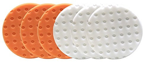 Lake Country CCS Smart Pads DA 5.5 inch Foam Pad (3-White, 3-Orange, 5.5)