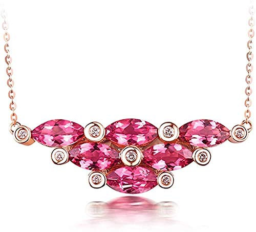 collar de Mujer pequeña joyería Macizo de 18 KT Rosa Colgante de Diamantes turmalina Forma Natural de Las Mujeres marquesa de Oro comprometidos for Casarse Pulsera