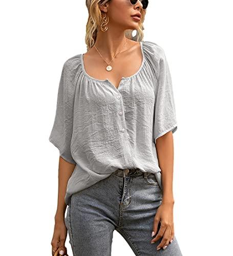Camiseta Mujer Tops Mujer Suelta Cómoda Moda Color Sólido Cuello Redondo Manga Corta Vacaciones De Verano Casual Citas Nuevas Mujeres T-Shirt Mujer Camisa C-Gray M