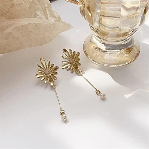 SALAN Pendientes Colgantes De Flores Grandes De Perlas Simuladas De Palo Largo para Mujer, Joyería India De Moda