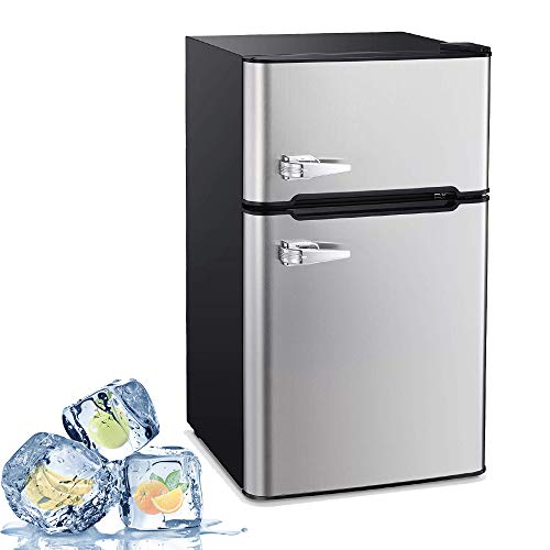 Joy Pebble Compact Double Door Refrigerator and Freezer, 3.2 cu.ft Freestanding mini Fridge Suitable for Office, Dorm or Apartment with Adjustable Removable Glass Shelves (silver)
