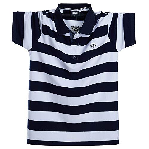 LIUZIXI Kurzarm Poloshirt ,Herren Sommer Tipping Collar Polo Kurzarm Atmungsaktiv Lässig Baggy Oversize Plus Size Blau Gestreift Weiß T-Shirt Arbeit Golf Tennis T-Shirts, L.