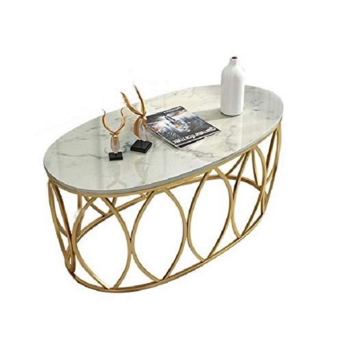 JINPENGRAN Mesa de mármol-Simple Creativo Piso Sala Hierro Forjado recepción Negociación pequeña Mesa de té,A,100 * 50 * 45cm