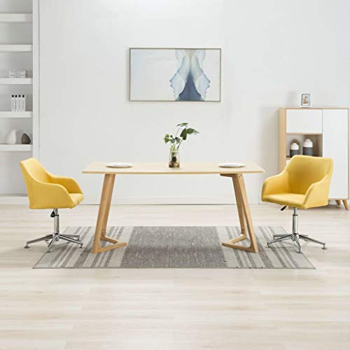 vidaXL 2X Esszimmerstuhl Drehbar Bürostuhl Drehstuhl Schreibtischstuhl Küchenstuhl Sessel Stuhl Stühle Essstuhl Polsterstuhl Gelb Stoff