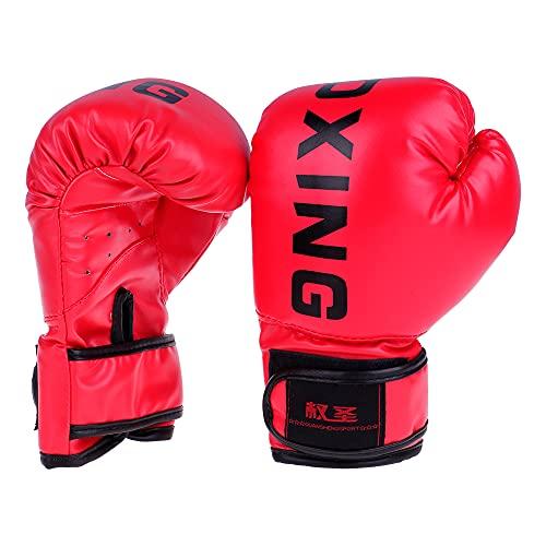 Blendx 1 Paar Boxhandschuhe PU Leder Coachinghandschuhe Punchinghandschuhe mit Klettgehäuse für Kinder 2 Farben|Rot