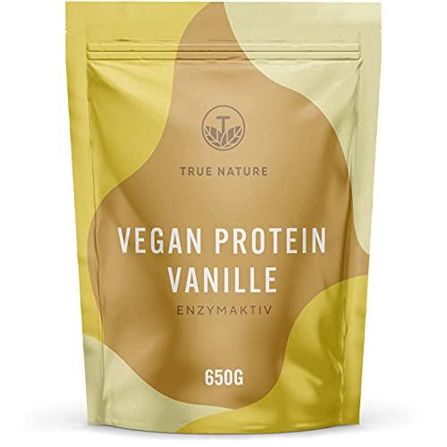 Vegan Protein Vanille - Enzymaktiv - Super Leckeres & Natürliches Veganes Proteinpulver - Mehrkomponenten Komplex aus Reis, Erbse, Hanf, Kürbiskern & Kichererbse - Deutsche Produktion - TRUE NATURE®