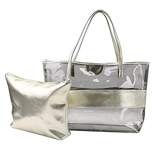 QUQU Damenhandtasche Transparente Strandtasche Pvc Kunststoff Kosmetiktasche Zweiteiliger Anzug Geeignet Für Reisen Spielen Freizeit Und Einkaufen Silber