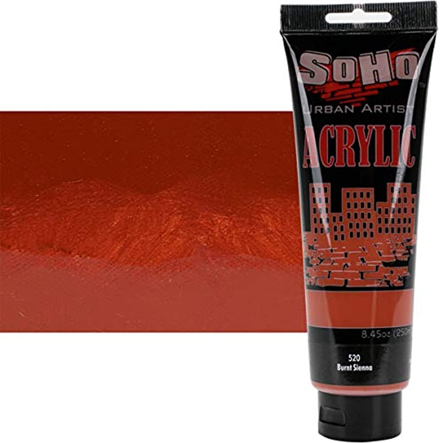 SoHo Urban Artist Heavy Body Acrylic Paint 250ml/8.45oz Tubes - High Pigment All Purpose Non-Toxic, Water Based, Smooth Acrylics for Professionals & Students LARGE Size - Burnt Sienna z008844593