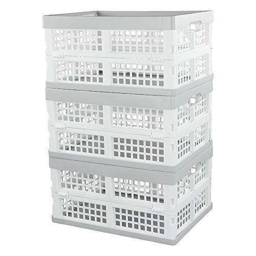 Vababa - Cesta de almacenamiento plegable de plástico (3 unidades)