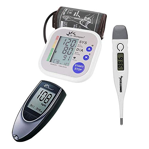 Dr. Morepen BP-02 Blood Pressure Monitor, Glucometer, 25 Strips and Digital Thermometer Combo